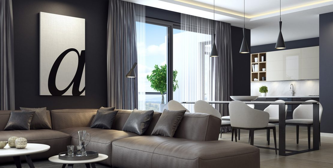 This is modern contemporyry dark black luxury style living room interior with dining and kitchen. Here are various shades and finishes that mix together beautifully. And silver is the hottest metallic tone in interior design. A plethora of colors and textures were layered to create a feeling of warmth and luxury style. Fabrics include sumptuous velvet for the sofa, silk cushions and curtain with Italian cashmere carpet. Modern luxury black style apartment with leather sofa.
